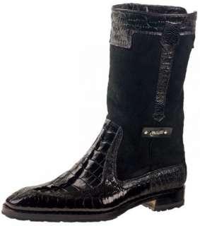 MAURI MASCULINE BLACK OSTRICH LEG / CROCODILE BOOTS~8