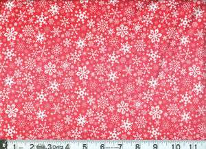 PRIMITIVE 100% COTTON RED WITH WHITE SNOWFLAKES FABRIC 45