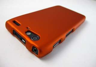 ORANGE RUBBERIZED HARD SHELL CASE COVER MOTOROLA DROID RAZR MAXX XT916