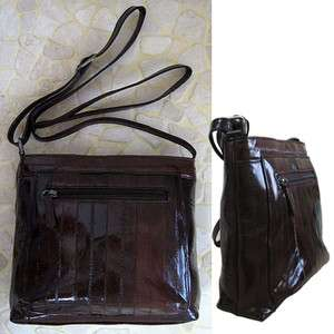 Genuine Eel Skin Leather HandBag Crossbody Bag BROWN