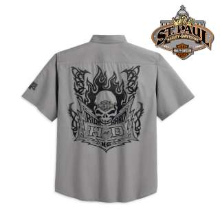 Harley Davidson® Mens S/S Shirt w/ Skull Back Graphic 96651 12VM