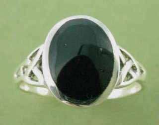 New Oval Sterling Silver Black Onyx Celtic Ring Sizes 5 10