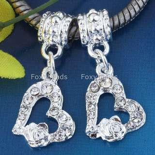Clear Crystal Heart*Rose Silver Plated European Beads