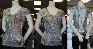New Cute Women Ripped Back Army T Shirt w/Rhinestones L
