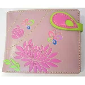 Flowers & Butterflies WALLET Mauve Pink Faux Leather