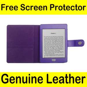 Genuine Leather Pouch Case Cover Jacket for  Kindle Touch Purple