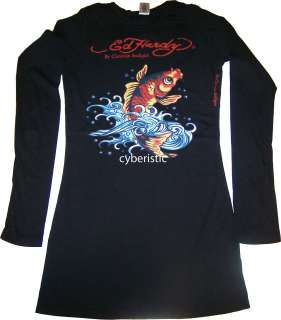Ed Hardy Womens Black Koi Fish Long Sleeves T Shirt M L