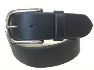 Black J. Crew Leather Belt Mens 34 NWOT Dress Silver