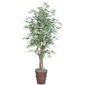 Potted Artificial Japanese Maple Tree in Bamboo Pot: