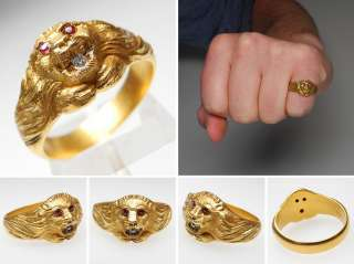 Victorian Era Mens Ruby Eye Diamond Lion Ring 14K Gold