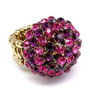 Duo Tone Dome Round Crystal Pave Stretch Ring Pink Jewelry