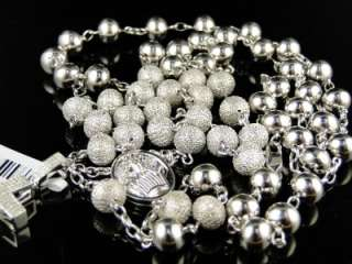 MENS BEADED WHITE GOLD FINISH ROSARY DIAMOND CHAIN NECKLACE 32 + 7