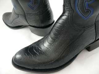Mens Lucchese Cowboy Boots Black Ostrich Leg L1357