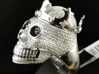 MENS WHITE GOLD FINISH REAL XXL SKULL BLACK/WHITE DIAMOND DESIGNER