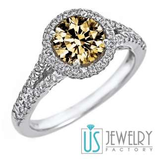 82ct VS Natural Fancy Light Brown Round Diamond Engagement Ring 14k