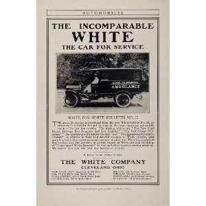 1908 Ad Whie Ambulance Auomobile Car Vinage   Original Prin Ad
