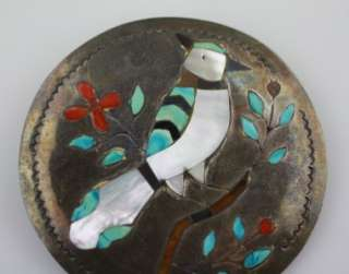 Begay Navajo Sterling , Coral, Turquoise large Bird pendant MOP