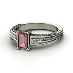 Emerald Cut Ceres Ring, Emerald Cut Red Garnet 14K White