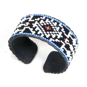 BLACK WHITE NATIVE BEADED CUFF BRACELET LEATHER 32/4