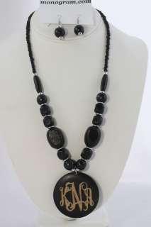 Monogrammed Black Oblong Wood Engraved Necklace Set
