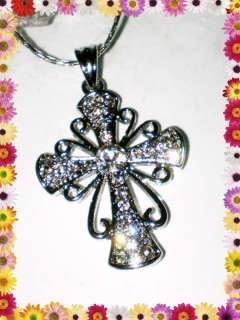 DAY GIFT VINTAGE STYLE SILVER CROSS NECKLACE~PENDANT~CLEAR CRYSTAL