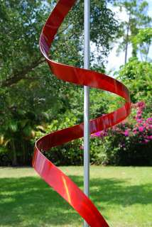Modern Abstract Painted Metal Art Sculpture Red Ribbon Dancer