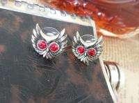 Vintage Style Red Rhinestone Eyes Owl Earrings Gold