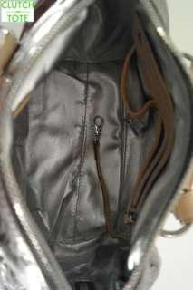 Michael Kors Grayson Monogram Mirror Metallic Small Nickel Satchel