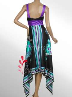 Empire Line Deep V Neck Flora Printed Satin Long Party Dress 09393 US