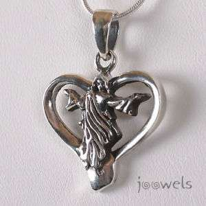 Silver Risen Christ Heart Pendant Necklace Leather