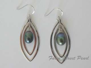 Sterling Silver Genuine Black Pearl Dangle Earrings Cultured