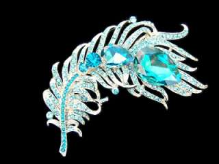 Peacock Bird Feather Blue SWAROVSKI Crystal Pin Brooch D1