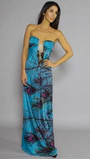 NWT SKY Brand Teal Peacock Print & Feathers Sleeveless Tube Long Maxi