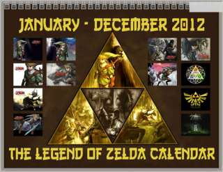 Zelda Triforce Logo Symbol January December 2012 Wall Calendar