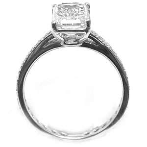 29 Micro Pave Emerald Cut Diamond Engagement Ring 14K