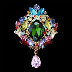 Multi Swarovski Crystal Flower Drop Pendant Brooch Pin