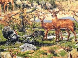 New Deer Wild Animals Fall Woods Trees Leaves Turkey Raccoon Fabric