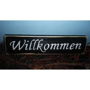 WILLKOMMEN Welcome in German Rustic Shabby Country Chic