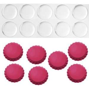 Magenta Pink Crown Bottle Caps with 1 Circle Epoxy Stickers