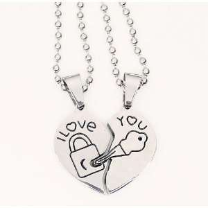Stainless Steel Lock and Key 2 Piece Heart I Love You