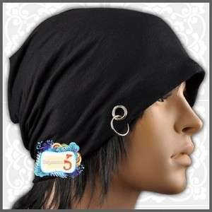 AM091 Black Metal Ring Punk Rock Mens Beanie Hat Cap