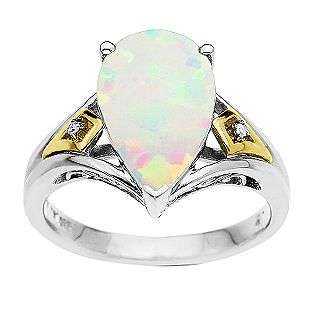 Lab Created Opal Teardrop Ring. 14K Yellow Gold and Sterling Silver