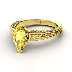 Marquise Ceres Ring, Marquise Yellow Sapphire 14K Yellow Gold Ring
