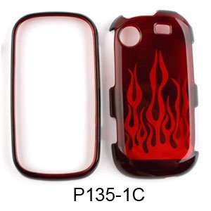 com Samsung Messager Touch R630 Transparent Red Flame Hard Case/Cover