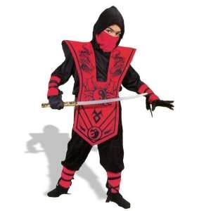 Childrens Red Ninja Lord Dress Up Costume (Small 4 6X