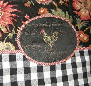 VALANCE French Country Rooster Balloon Shade CURTAIN Check Floral