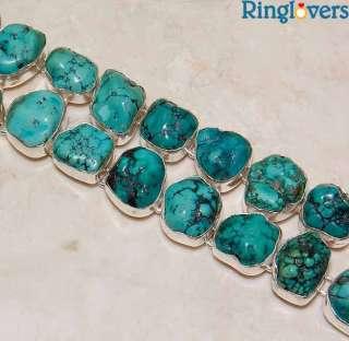142CT Rough Tibetan Turquoise 925 Sterling Silver Bracelet Oz 2