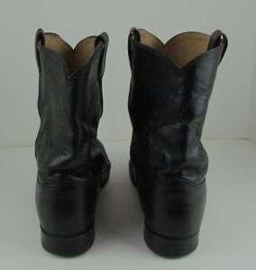 Vintage JUSTIN Mens Black Leather Roper Western Cowboy Boots Size 10.5