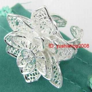 wholesale 1pc S80 silver nice big flower 6 8 rings R029