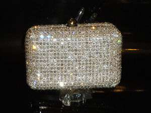 NEW*Silver PLATED CRYSTAL EVENING BAG COCKTAIL BOX CASE